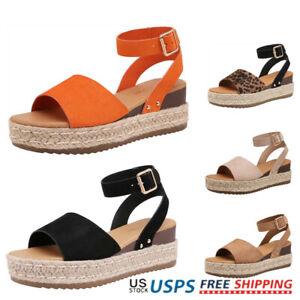 Women's Espadrille Sandals Ankle Strap Open Toe Platform Wedge Sandals