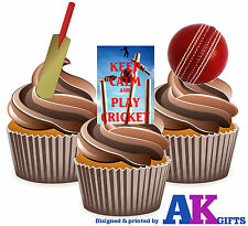 PRECUT Keep Calm and Play Cricket 12 Edible Cupcake Toppers Decorations Birthday