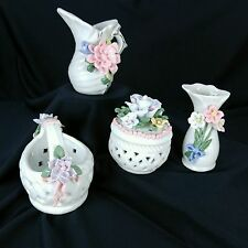Miniature Flower Basket Vase Pitcher Trinket box Floral Rose Shabby Country Set