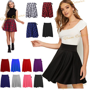 New Ladies Short Skater Skirt Womens Plus Size Flared Elastic Waist Skirt 14-26