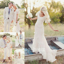 New Ivory/White Lace Simple Wedding Dress Bohemian Bell Sleeve Bridal Gown Sheat