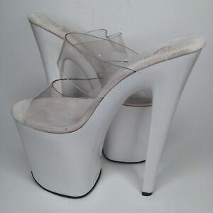 "Pleaser XTREME-805 White Clear Platform 8"" Stripper Exotic Dancer Heels Size 7"
