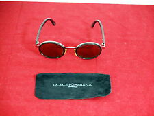 Dolce & Gabbana Gold Tone Brown Oval Frame Dark Brown Lens Sunglasses DG 9025