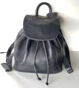 Vintage 1996 Coach Sonoma 4911 Drawstring Black Textured Leather Backpack