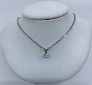 14k White Gold VS-F Diamond Solitaire Pendant Necklace