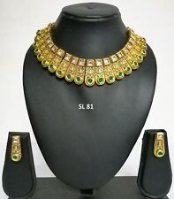 Indian Fashion Jewelry Traditional Wedding Gold CZ Crystal Necklace Earring Sets