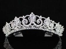 Impressive Clear Austrian Rhinestone Crystal Crown Tiara Hair Comb Bridal H1411