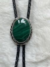 Sterling Silver Bolo Tie Malachite Green Stone Black Leather Navajo Cowboy Mens