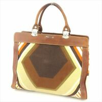Miu Miu Tote bag Brown Beige Canvas Leather Woman Authentic Used T8810