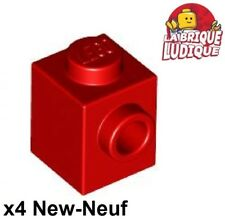 Lego - 4x Brique Brick Modified 1x1 stud 1 side rouge/red 87087 NEUF