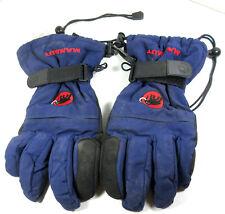 MAMMUT Wind Stopper Gore-Tex Winter Ski Gloves Leather Nylon Blue Black Size 9