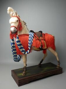 JAPANESE ANTIQU BOY'S MAY FESTIVAL ORNAMENT STATUE SAMURAI WHITE HORSE BOX STAND