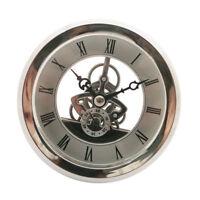 Skeleton Insert Clock Movement Quartz Battery Fit Up 91mm Silver Roman Dial