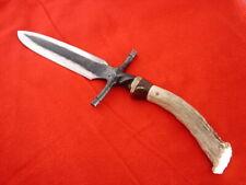 """Maker Marked 11-3/8"""" custom handmade Stag boot dagger Hammer Forged knife"""