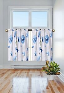 "1 Pair Room Darkening Floral Design Blackout Window Short Curtain Panel DR#2 36"""