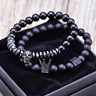 Charm Luxury Micro Pave CZ Crown & Skull Beaded Bracelet for Men 8mm Matte Onyx