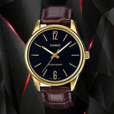 Casio Mens MTP-V005GL-1B Gold Analog Watch Brown Leather Band New