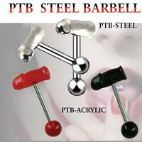3 Tongue Ring Barbell 14G 5/8 PTB STELL BARBELL