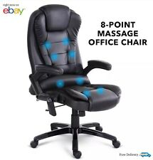 Artiss 8 Point Massage Electric Office Chair Black Heated Gaming Chairs Computer