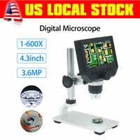 "1-600X 3.6MP 4.3"" Display Endoscope Microscope Continuous Magnifier 8 LED Camera"