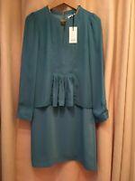 Reiss Daze Chain Neck Dress Emerald Sea Shift Designer Brand New UK Size 6 XS