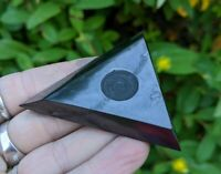 ONE (1) SHUNGITE Triangle Sphere Stand Crystal Reiki Charged EMF *Read Below*