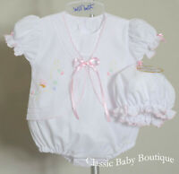 NWT Will'beth White Pink 2pc Butterfly Bubble Set Preemie Baby Girls Size 00