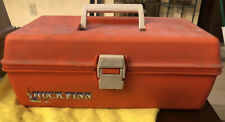 Vintage Huck Finn Orange Fishing Tackle Box With Tackle And Bait Rare Lures