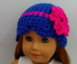 """Crochet Hat 18"""" Doll Clothes Fits American Girl Dolls Blue with scallop edge"""