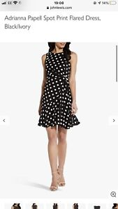 Adrianna Papell Black Polka Dot Spotted Dress,fit & Flare,new With Tags, Size 18