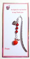 """Red Apple Thank You Gift for Teacher with """"Thanks"""" Charm on Beaded Bookmark"""