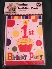 NISP Babies 1st Birthday Party Invitation Pack 8 Cards & Envelopes Happy First!