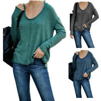 Women Long Sleeve T Shirt V Neck Casual Tops Solid Loose Blouse Fall Tunic