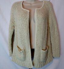 Ann Taylor Loft Women's Size Medium Open Front Cardigan Sweater Ivory Wool Blend
