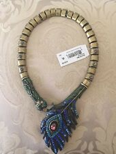 NEW Betsey Johnson Peacock Critters Statement Collar Necklace Feather Snake
