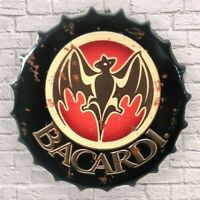 Bacardi Vintage Retro Wall Sign Metal Bottle Top Man cave Garage Art Bar Shed