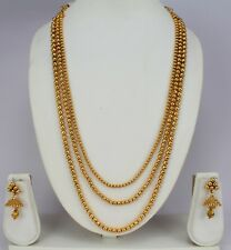 3 Line gold plated fashion jewellery chain necklace set earring women bridal