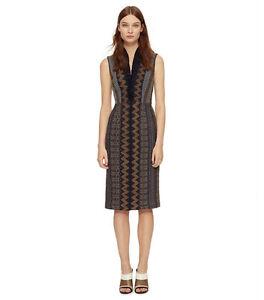 Tory Burch SMOCKED SILK V-NECK DRESS ( Size 6)
