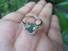 NATURAL EMERALD & Sparkling CZ Stone HEART Sterling 925 Silver RING 7.0