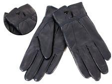 Ladies Navy  Soft Leather Gloves From Lorenz  With  Button Fastening XL