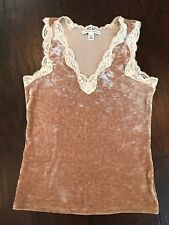 Banana Republic Gold Crushed Velvet Lace Cami Sleeveless Stretch Size Small