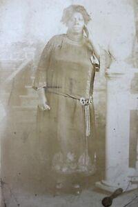 AZO Vintage Real Photo RPPC BLACK LADY Fancy Dress BELT Posing Staircase Woman