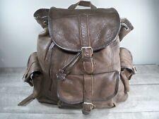Vintage Brown Cowhide Leather Backpack Camping Book Day Bag School Knapsack Pack