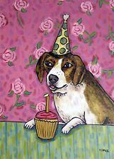 BEAGLE dog birthday cup cake 13x19  artist art PRINT animals gift new