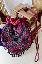 VINTAGE style 1920's 30's Victorian pouch EVENING bag WINE RED gothic mourning