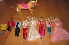 Mixed Lot Barbie Dolls Wedding Birthday Boy Ken Doll Prince & Barbie Horse