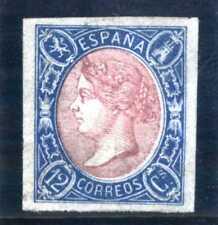 SELLOS DE ESPAÑA 1865 Nº 70 12 cuartos azul y rosa ISABEL II Lujo