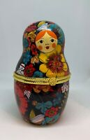 Nesting Doll Shaped Ceramic Trinket Box / Jewelry Keepsake w/ Floral Pattern