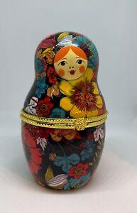 Nesting Doll Shaped Ceramic Trinket Box / Jewelry Keepsake w/ Floral Pattern