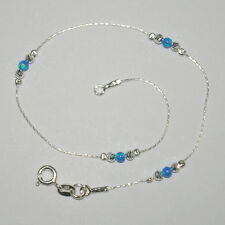 Sterling Silver 925 Chain, Laser Cut and Dark Blue OPAL Beads ANKLET - Your Size